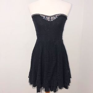 Free People strapless dress Size Small lace black